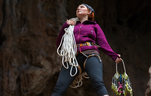 Picture woman, equipment, attitude, climbing ropes