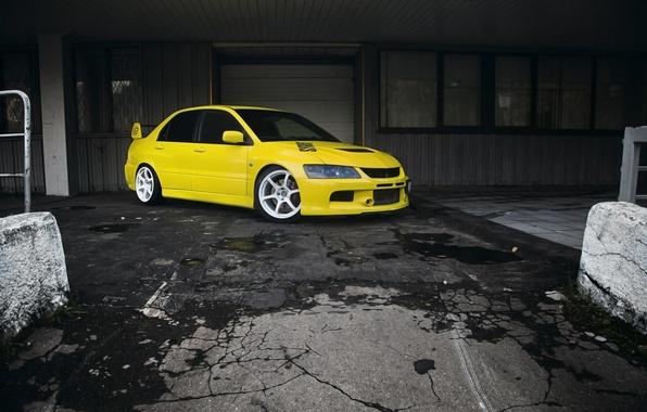 Picture yellow, white, mitsubishi, lancer, evolution, Lancer, Mitsubishi, evolution