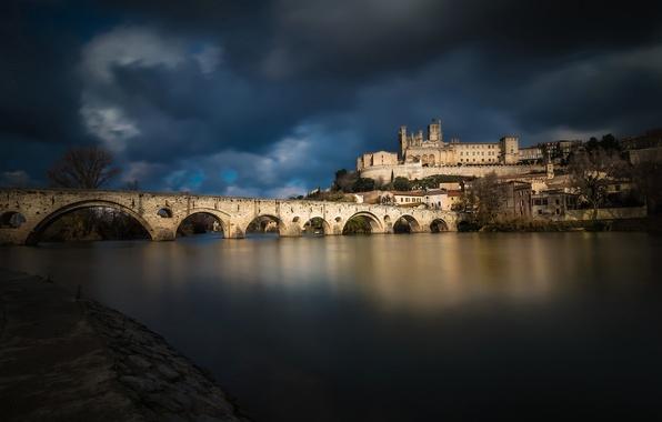 Picture bridge, river, France, home, Languedoc-Roussillon, Beziers, Orb