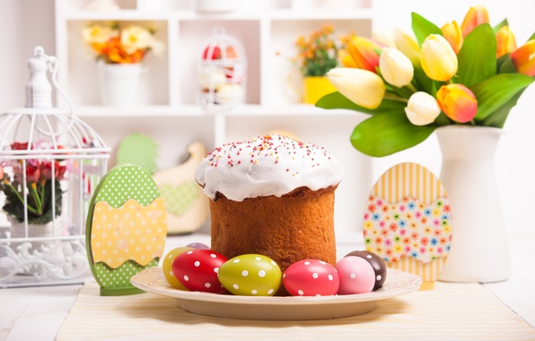 Picture table, eggs, Easter, tulips, cake, cake, cakes, tulips, glaze, spring, Easter, eggs, holiday, decoration, blessed