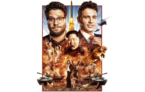 Picture tiger, girls, helicopters, rocket, white background, action, poster, tanks, chicken, James Franco, Comedy, James Franco, …