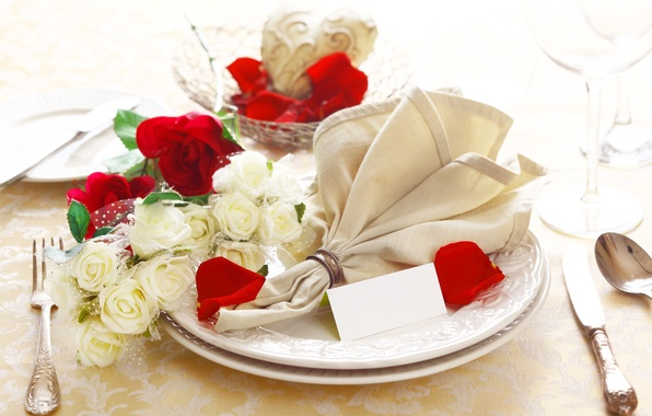 Picture flowers, roses, glasses, plates, restaurant, napkin, serving