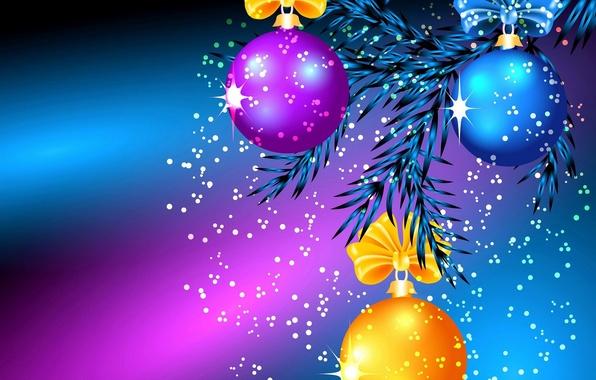 Picture balls, light, needles, toys, Shine, new year, Christmas, branch, bow, Blik