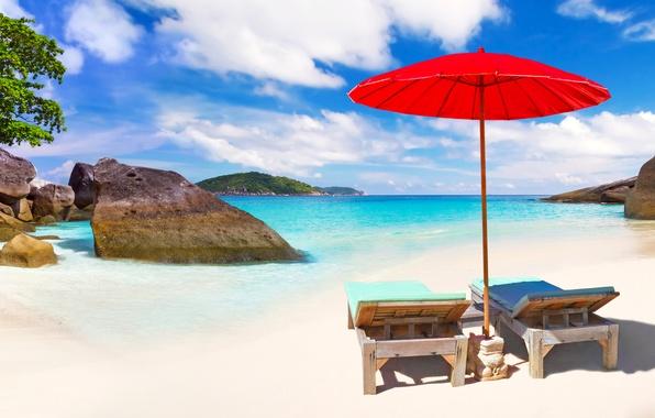 Picture sand, sea, beach, the sky, the sun, clouds, red, tropics, stones, shore, umbrella, horizon, Thailand, …