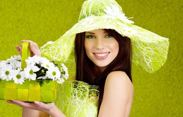 Picture summer, girl, flowers, smile, mood, basket
