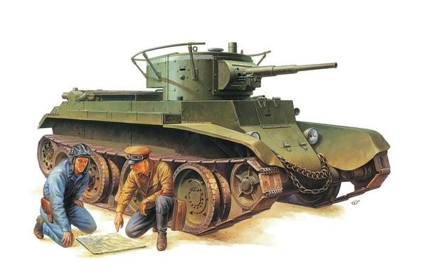 Picture figure, tank, Soviet, tankers, easy, BT-7