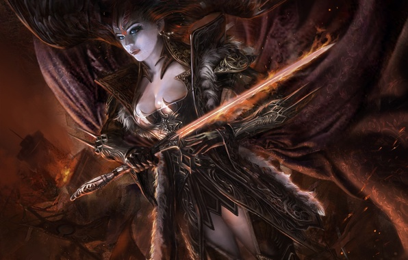 Picture girl, wings, sword, art, Legend of the cryptids