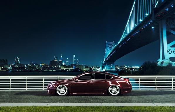 Picture night, bridge, the city, black, profile, Honda, Accord, Honda, Acura, Acura, TSX