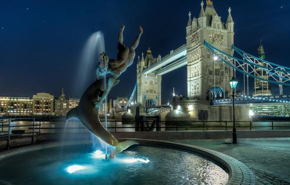 Picture night, England, London, night, Tower Bridge, London, England
