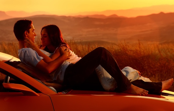 Picture machine, sunset, people, romance, Love, Transformers, a couple