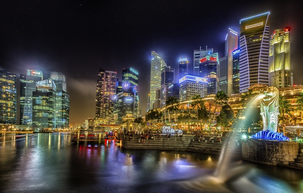 Picture building, home, the evening, Singapore, skyscrapers, Singapore, naght, sity, lights.