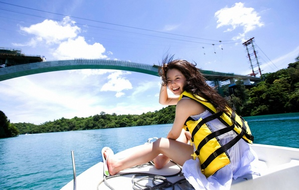 Picture forest, the sky, water, girl, clouds, trees, bridge, smile, river, the wind, boat, laughter, vest