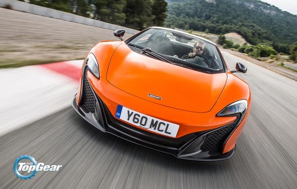 Picture McLaren, Top Gear, Orange, Speed, Front, Spider, Track, 650S