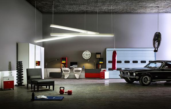 Picture machine, design, sport, interior, garage, Ford Mustang