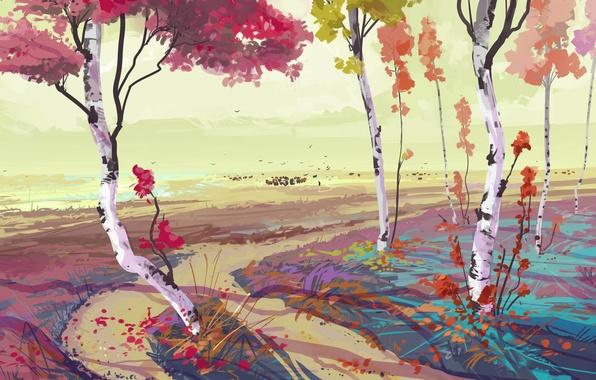 Picture autumn, trees, art, birch, painted landscape