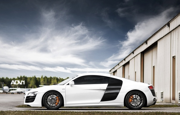 Picture white, the sky, clouds, Audi, Audi, hangar, supercar, side view, aircraft, adv.1, B10, v10