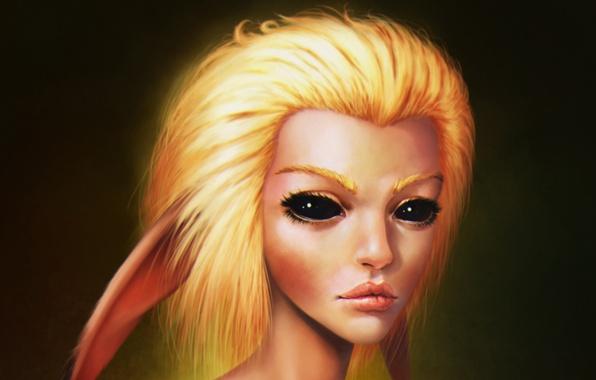Picture eyes, look, girl, anime, art, blonde, ears, fan art, Pikachu