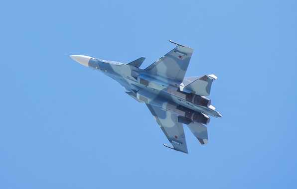 Picture flight, wings, fighter, Russian, multipurpose, double, Su-30CM