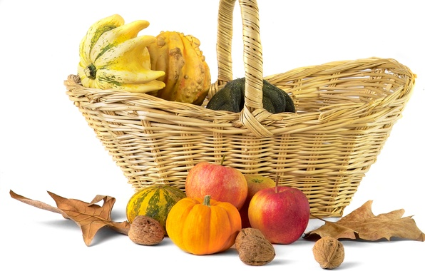 Picture autumn, leaves, basket, apples, pumpkin, nuts, still life, oyoshi