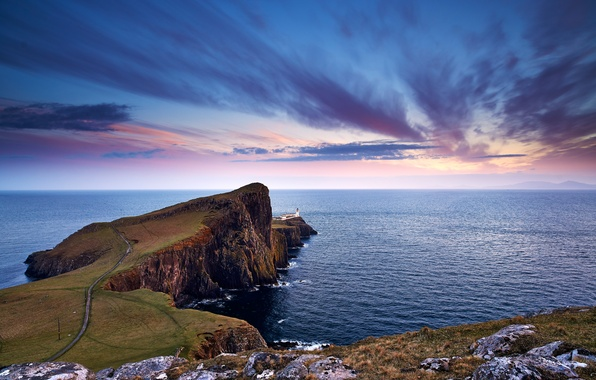 Picture road, sea, the sky, clouds, stones, lighthouse, the evening, Scotland, Scotland, Cape, Neist Point