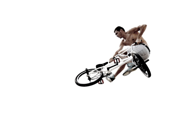 Picture BACKGROUND, WHITE, FLIGHT, JUMP, BIKE, MALE