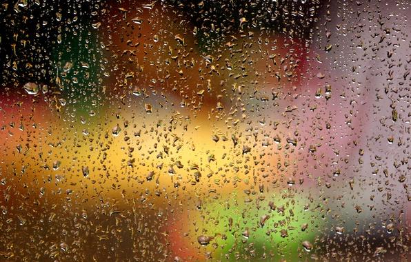 Picture glass, drops, lights, droplets, glare, Rain