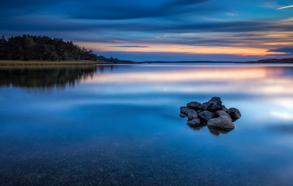 Picture forest, the sky, water, clouds, trees, sunset, nature, surface, reflection, river, blue, stones, shore, the …