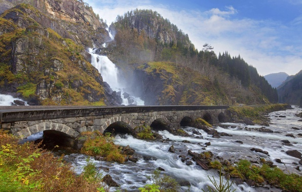 Picture forest, the sky, trees, mountains, bridge, nature, river, stones, waterfall