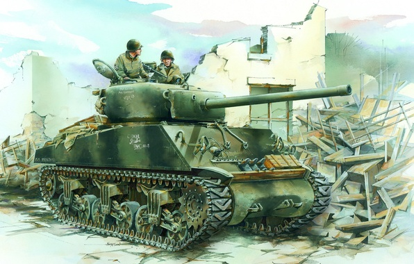 Picture figure, tank, the second world war, Sherman, tankers, sherman