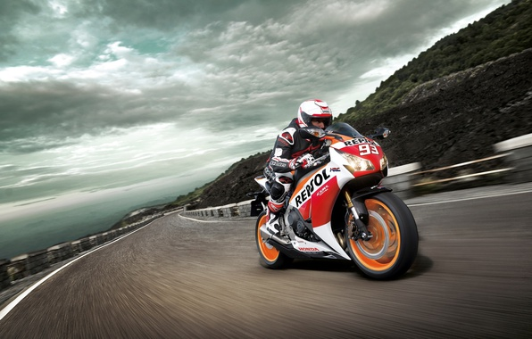 Photo wallpaper Honda CBR1000RR, racer, Track, the sky, speed, mountain