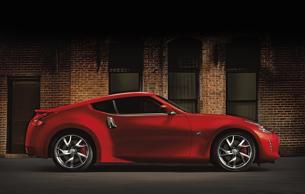 Picture Red, Machine, Nissan, The building, Nissan, Red, Car, Car, Cars, 370z, Side view