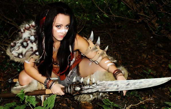 Picture look, girl, face, weapons, hair, fur, cosplay, barbarian