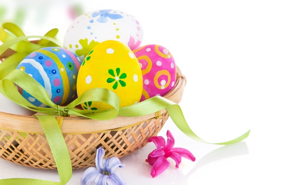 Picture holiday, basket, eggs, Easter, bow, Easter, egg