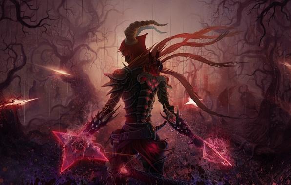 Picture forest, night, weapons, sword, art, armor, arrows, demons, hunter, quiver, diablo 3, crossbow, KoTnoneKoT, demons
