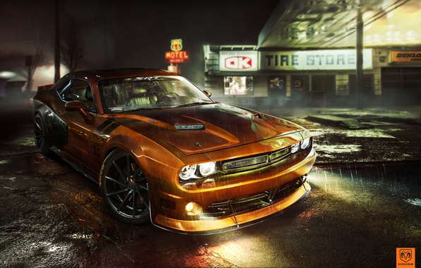 Picture tuning, photoshop, Dodge, Challenger