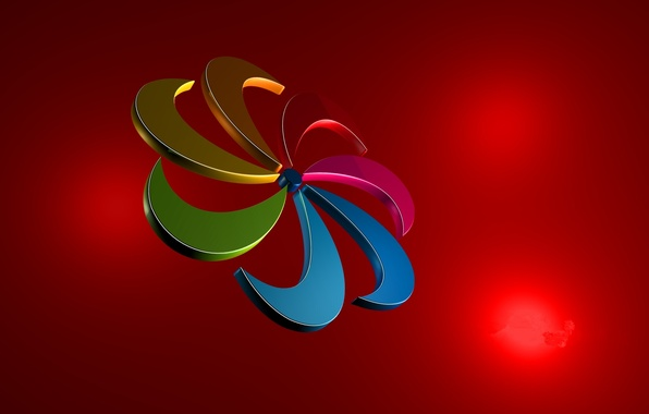Picture flower, light, abstraction, paint, color, rainbow, spiral, petals, Blik, the volume