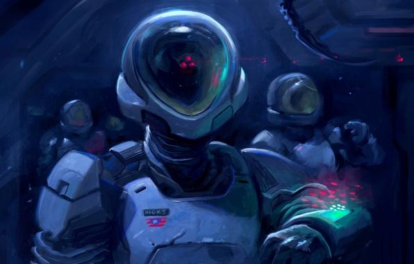Picture space, fiction, astronaut, the suit, art, helmet, astronaut