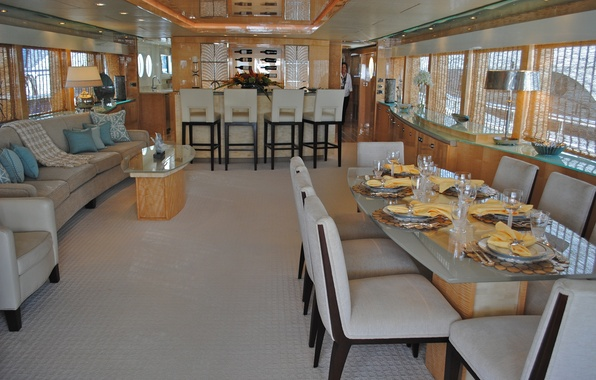 Wallpaper style interior yacht salon suite dining for Dining room 640x1136