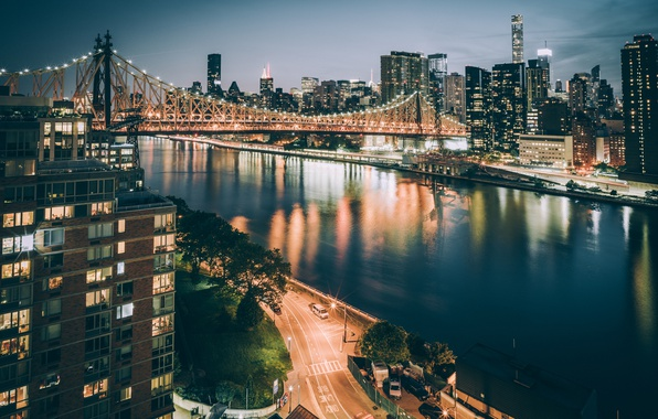 Picture night, bridge, the city, lights, USA, New York