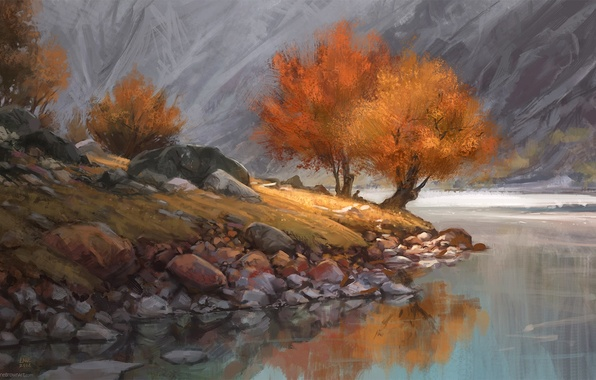 Picture autumn, trees, mountains, lake, river, loneliness, stones, shore, one, people, art, sitting