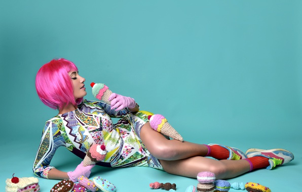 Picture girl, pose, background, makeup, figure, dress, hairstyle, sweets, lies, gloves, on the floor, cute