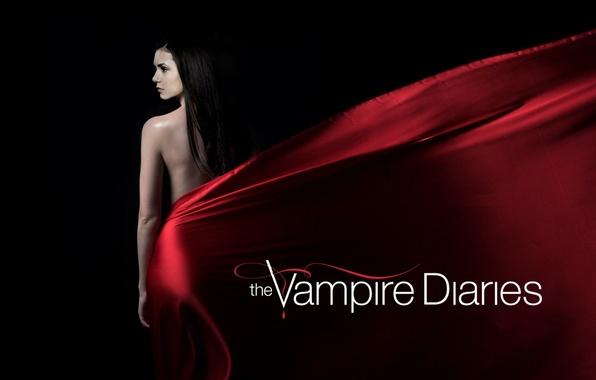 Picture actress, brunette, the series, black background, Nina Dobrev, Nina Dobrev, The Vampire Diaries, The vampire …