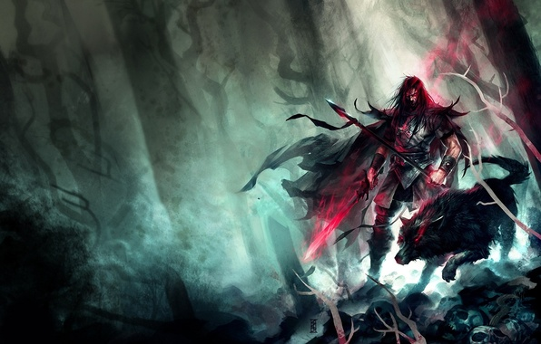 Picture forest, wolf, sword, art, male, spear, red eyes, lost, horror