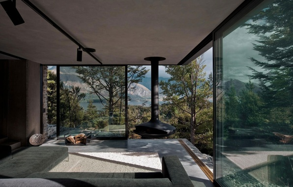 Picture nature, house, furniture, interior, fireplace