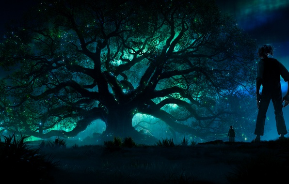 Photo wallpaper forest, night, lights, lights, tree, movie, the film, tale, fantasy, adventure, flickering, Sophie, family, The ...