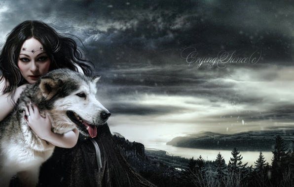 Picture look, girl, snow, face, animal, hair, wolf, makeup, dress, art, Queen, Morgan