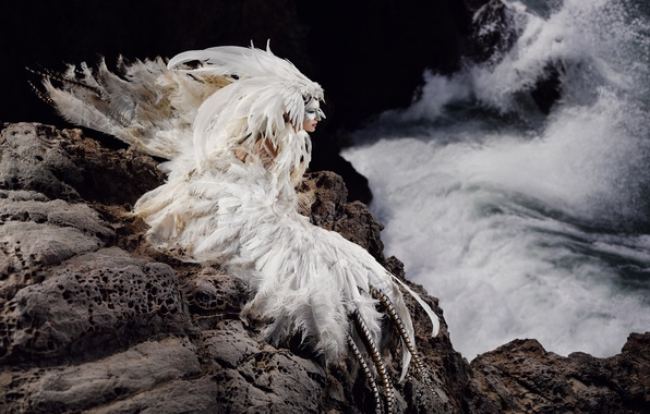 Picture sea, girl, rocks, bird, feathers, costume, outfit