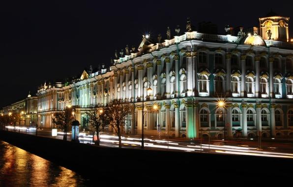Picture night, lights, Peter, Saint Petersburg, The Hermitage, Russia, Museum, Russia, SPb, St. Petersburg, spb