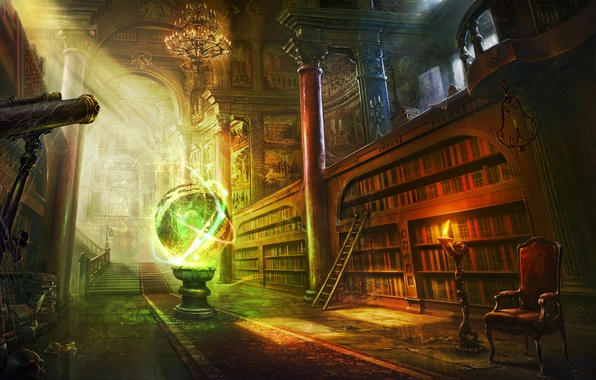 Picture room, magic, books, ball, candle, web, chair, art, ladder, library, sphere, telescope, shelves