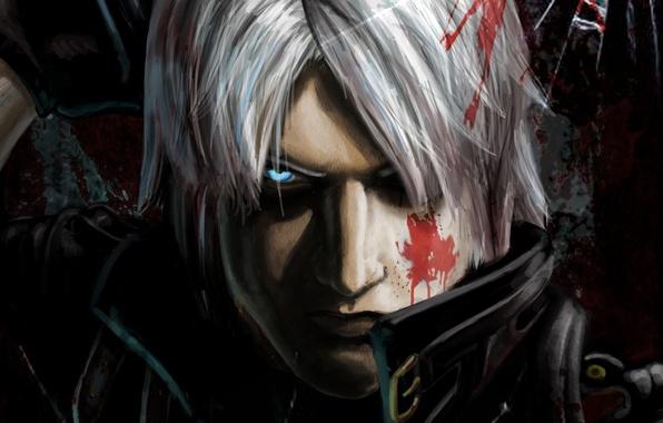 Picture blood, sword, sword, blood, hunter, Dante, Dante, game wallpapers, fanart, fanart, Rebellion, Rebellion, demon hunter, …